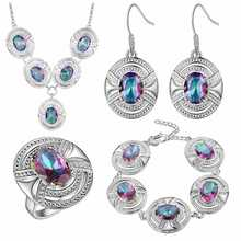 Thick silver jewelry set of foreign trade jewelry fashion jewelry wholesale colorful gem fashion set fashion jewelry
