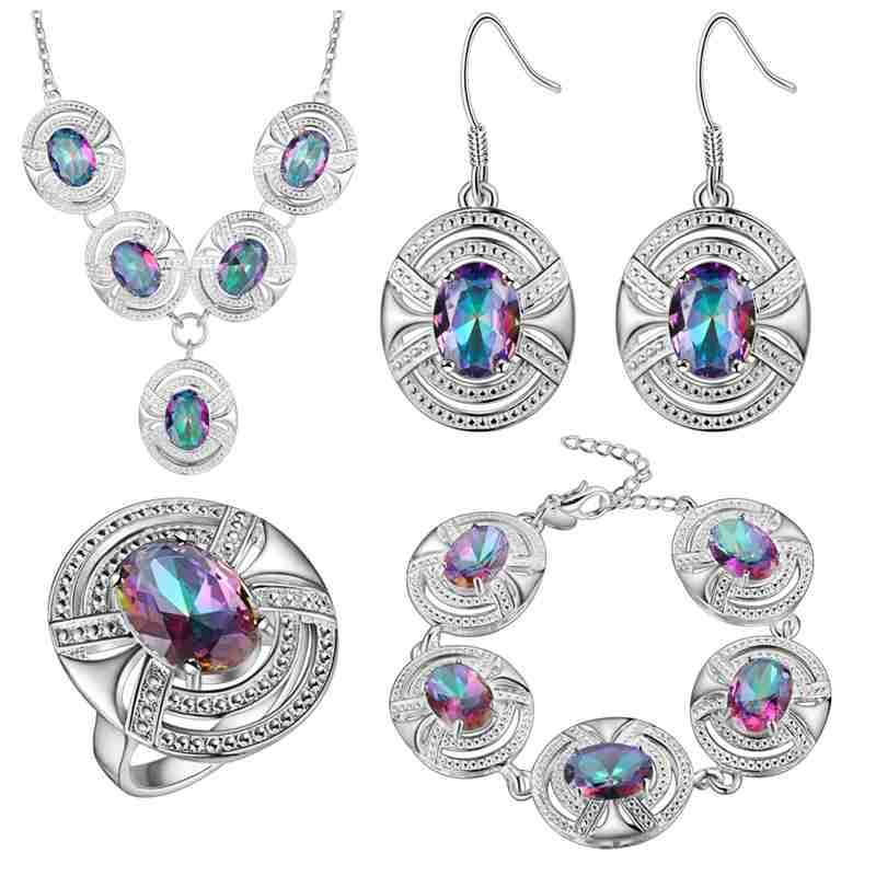 Thick silver jewelry set of foreign trade fashion wholesale colorful gem
