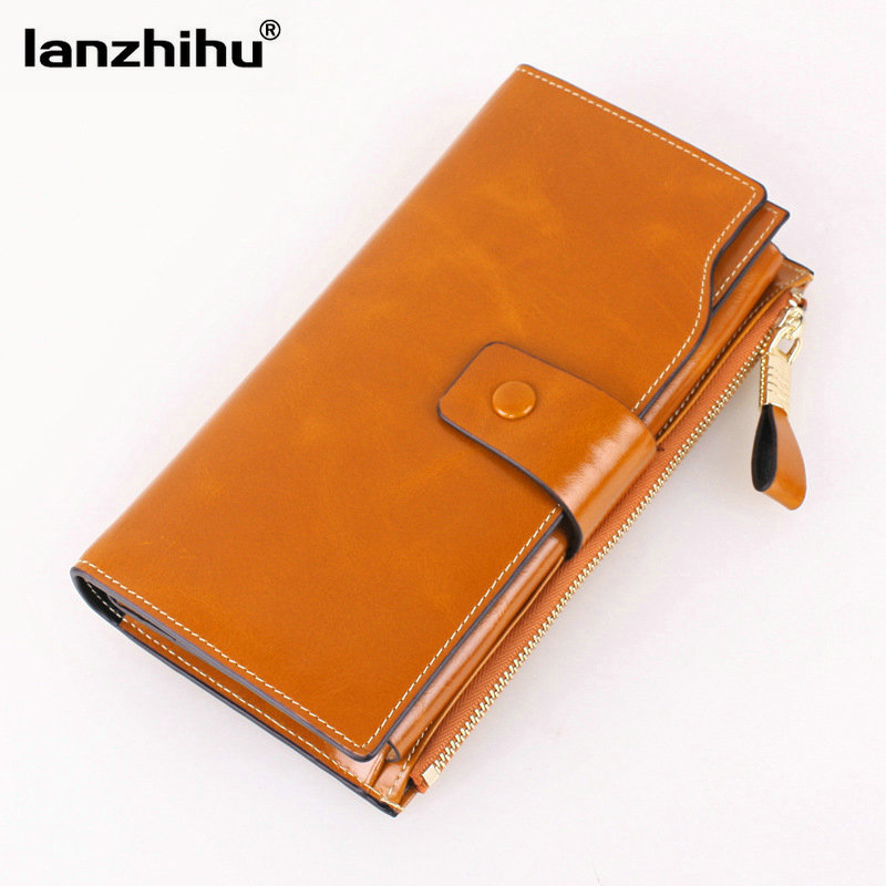 2016 Korean Women Wallets Genuine Leather High Quality Vintage 100% Oil Wax Leather Woman Wallet Men Organizer Phone Money Cards цена и фото
