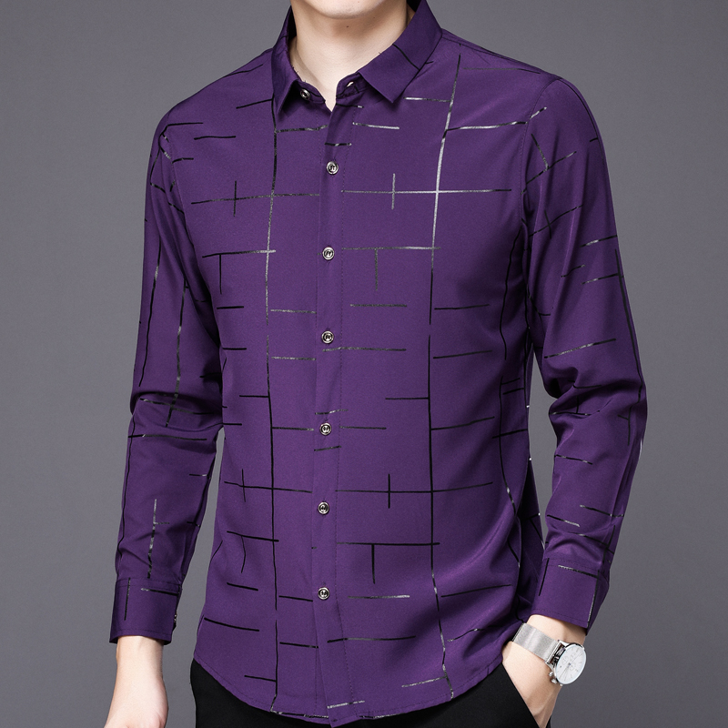 2019 popular brand fashion casual slim fit long sleeve men shirt social clothes plaid shirts mens dress jersey high quality 2028 3
