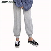 2018 Autumn Fashion Skinny women Woolen Harem pants pocket Elastic Waist Casual Knitted Pencil Pants loose trousers Dropshipping