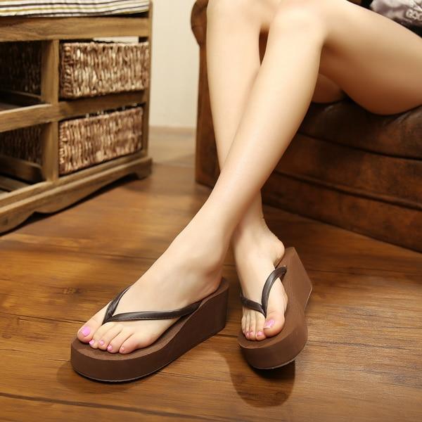 b4feb83433a0bb Pu Rubber Casual Plain Wedges Sandals Leisure Fashion Platform Flip Flops  Shoes Women High Heel Beach Slippers