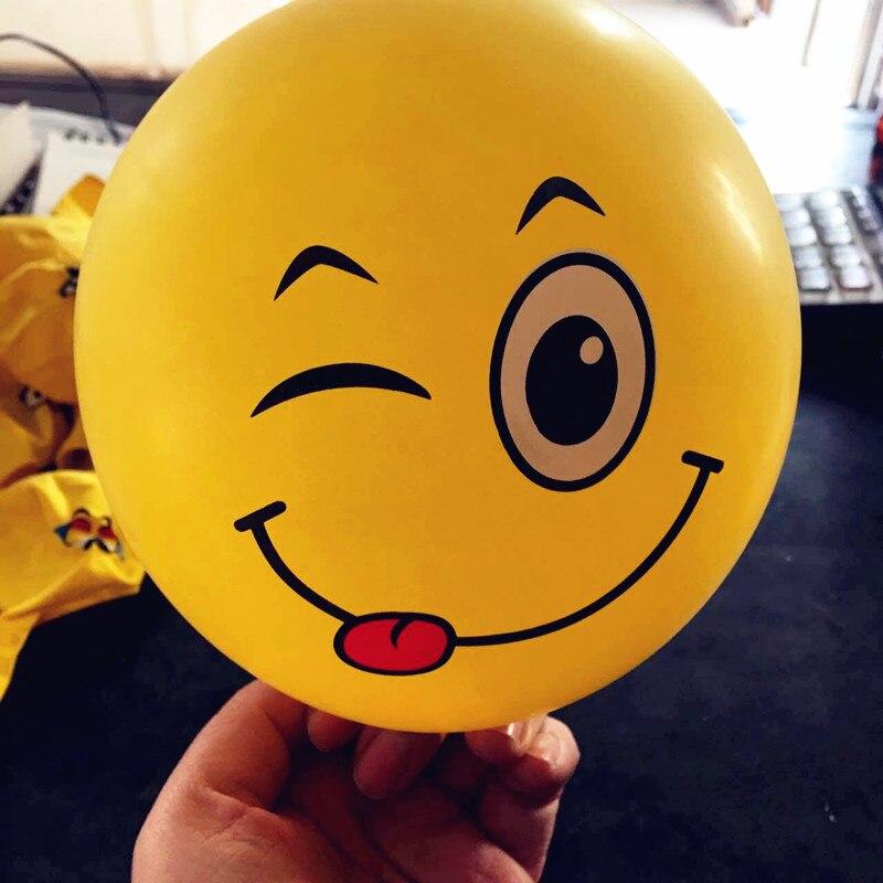 12inch Emoji Balloons Smiley Face Expression Yellow Latex Balloons Party Wedding Balloon Cartoon Inflatable Balls Float Balloon
