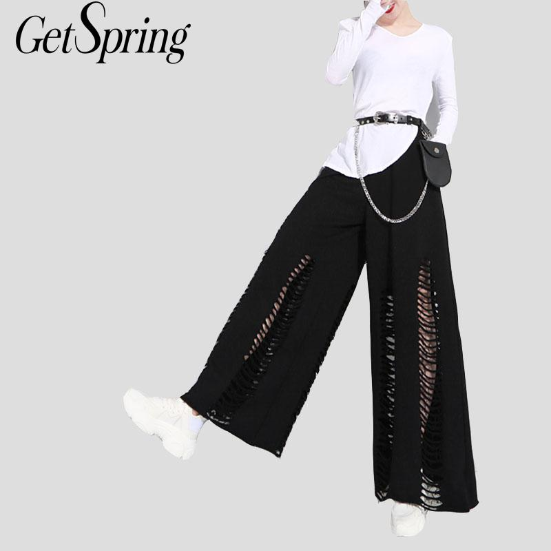 GETSRING Women Trousers Hole Elastic Waist Nine Points   Pants   High Waist Loose   Wide     Leg     Pants   All Match Leisure Trousers Autumn