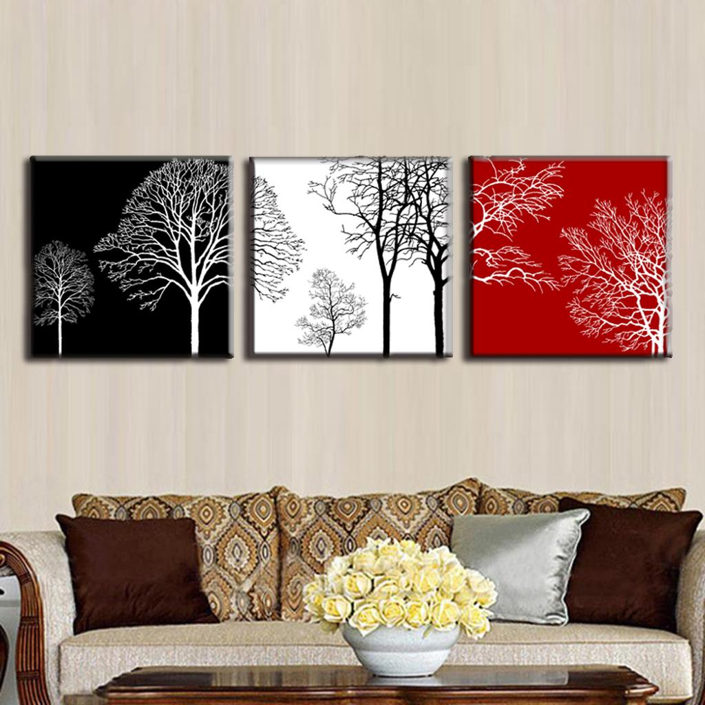 Discount framed painting 3 pcs set modern tress wall art canvas painting abstract black white red trees painting free shipping