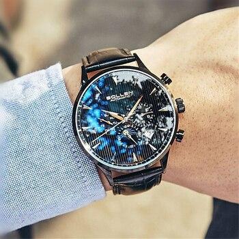 SOLLEN nouvelle montre pour hommes montre mécanique étanche automatique sport phase de lune lumineuse en cuir hommes tendance étudiant hommes montre