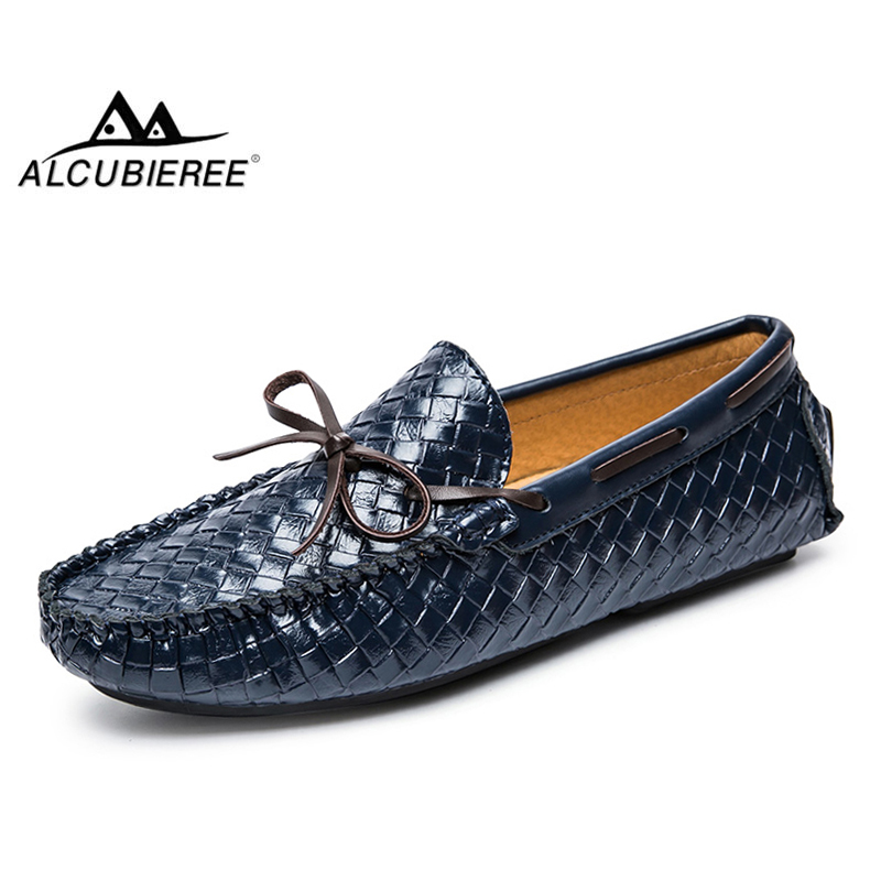 ALCUBIEREE Brand Genuine Leather Moccasins Mens Lace Up ...