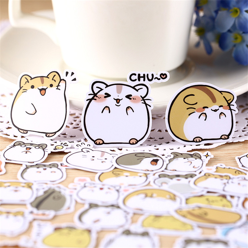 38 Pcs Hamster's English Expression Sticker For Kid DIY Laptop Waterproof Skateboard Moto Phone Car Toy Scrapbooking Stickers