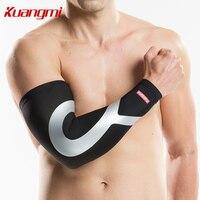 Kuangmi wit Arm Mouw mannen vrouwen Fietsen Arm Warmer cover Arm Compressie Mouwen UV Arm Mouwen Basketbal manguito ciclismo