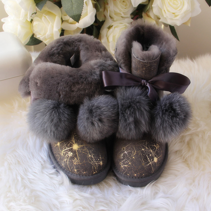 Free shipping! New Brand Natural Sheepskin Leather snow boots for women 100% Real Wool inside lady winter warm Boots