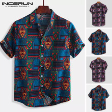 INCERUN Breathable Cotton Men Shirt Ethnic Style Print Vintage Short Sleeve Streetwear Tops Loose Men Beach Hawaiian Shirts 2021