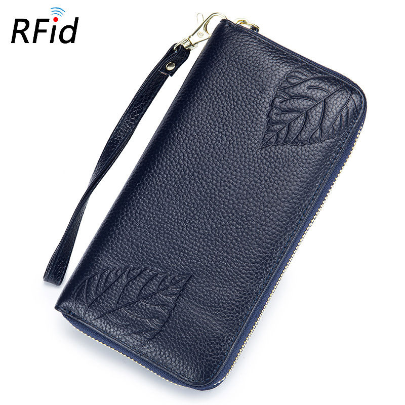 Hand wallet RFID ladies leather long embossed handbag zipper wallet large capacity multi-functional leather