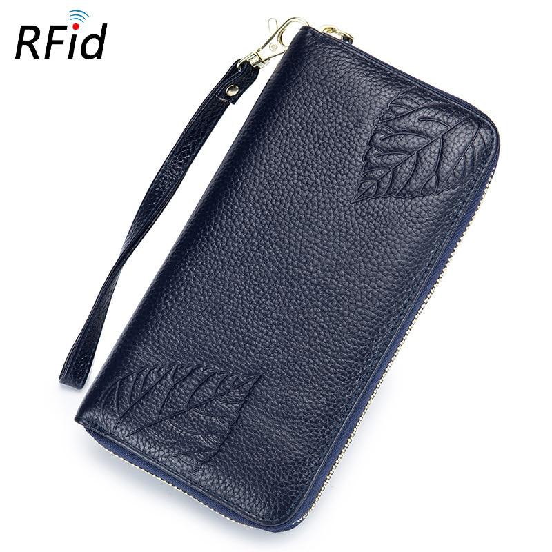 Hand wallet RFID ladies leather long embossed handbag zipper wallet large capacity multi-functional leather