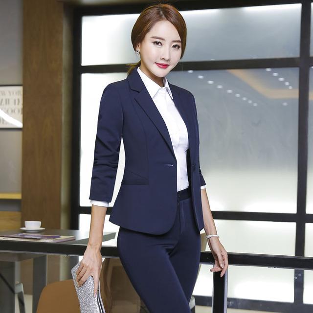 Nova Chegada Formal de Design Uniforme Feminino Pantsuits Com Jaquetas E Calças Outono Inverno Calças de Negócios Profissional Conjunto