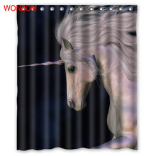 купить WONZOM 3D Polyester Unicorn Shower Curtains with 12 Hooks For Bathroom Decor Modern Bath Waterproof Curtain Bathroom Accessories дешево