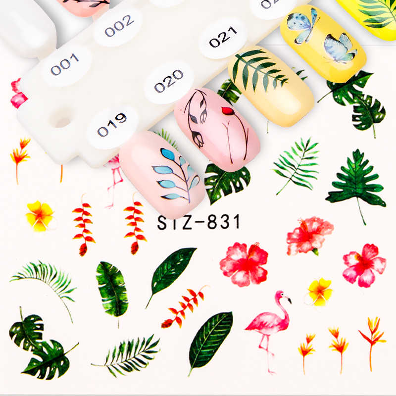 1pcs Nail Sticker Green Leaf Flowers Flamingo Design Water Decals Nail Art Transfer Decals Transfer Foil Nails Stickers