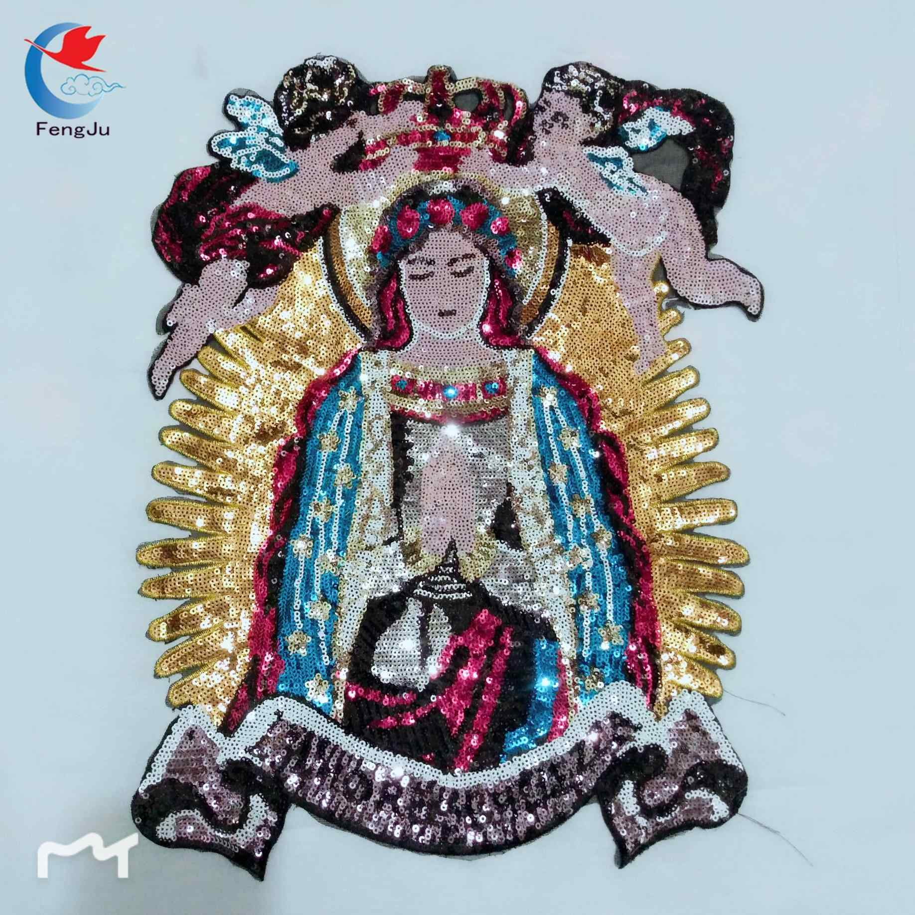 FengJu Angel of Jesus Beaded sequin Madonna patches embroidery fabric  patches brand fashion large applique patches 5d4c2116a65e