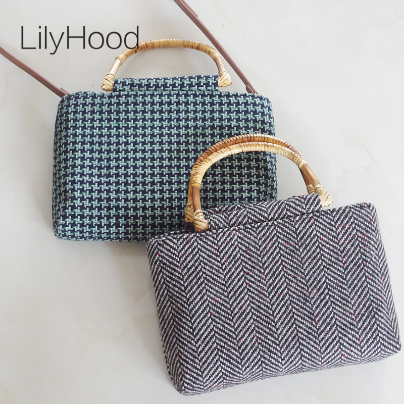 LilyHood Women Wool Felt Tote Bags Handmade Winter Vintage Retro Chic Preppy Style Tweed Fabric Book Top-Handle Shoulder Bag