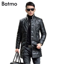 Batmo 2019 Man's Fashion Winter leather Coat Trench Clothing Long Coat Men's Clo