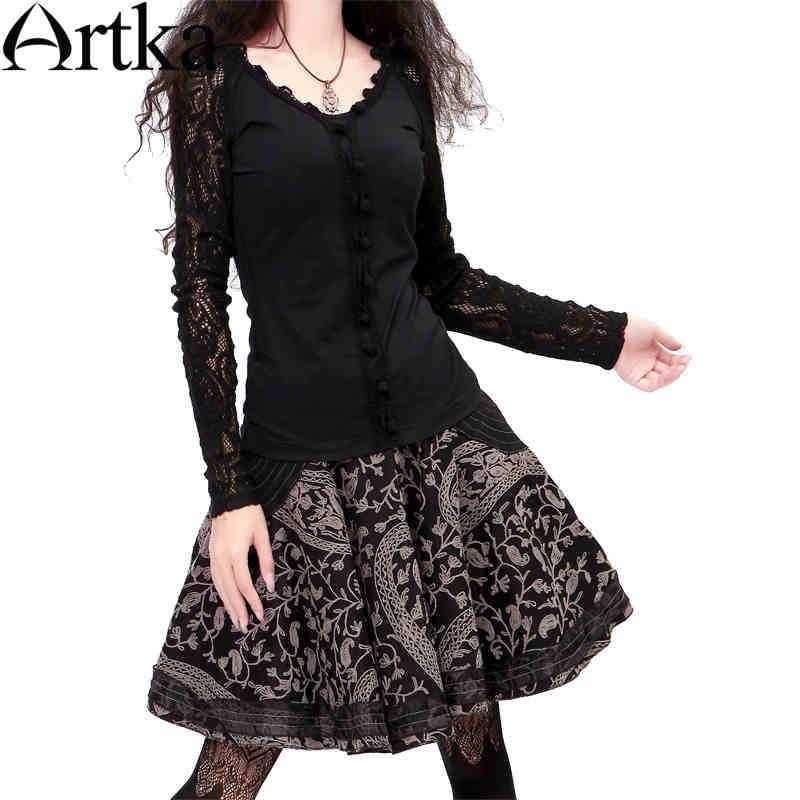 Artka ретро женская осенняя одежда классическая высококачественная элегантная хлопоковая черная короткая юбка с вышивкой и качелями A06377