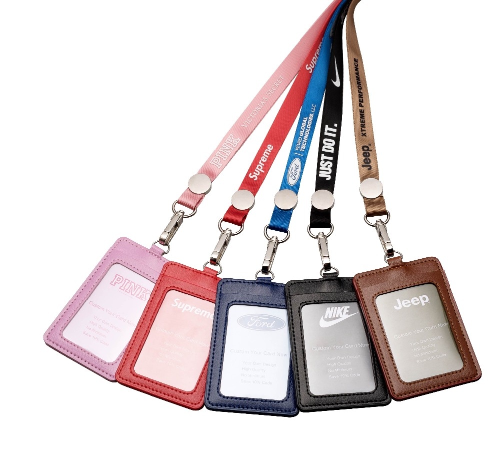 New Soft PU Lanyard Card Set Business Work Name Card Holders Card ID Badge Holder