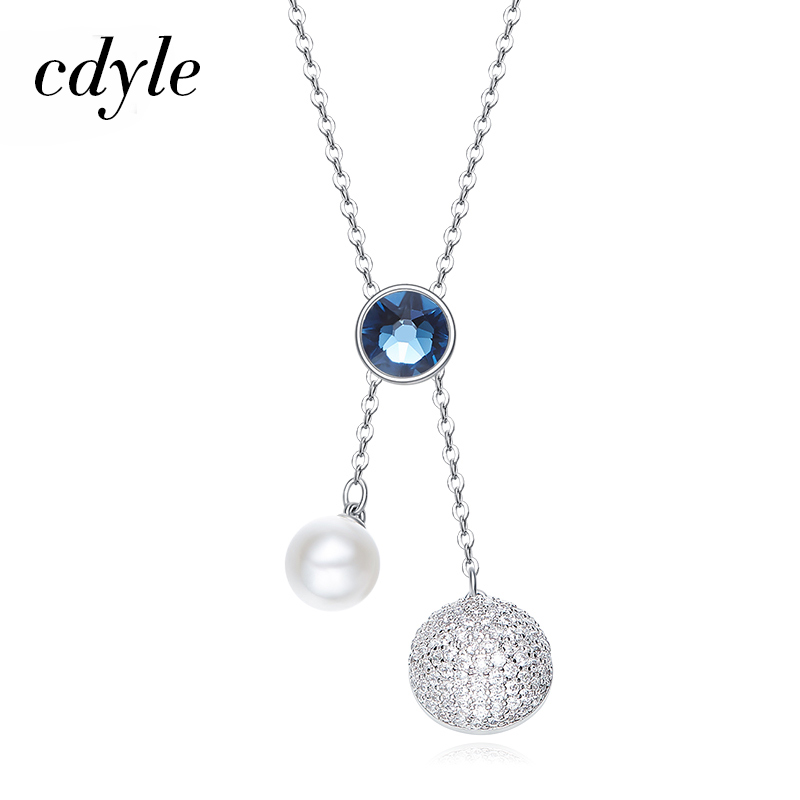 Cdyle Crystals from Swarovski Necklace Women Pendants Jewelry Round Shaped Rhinestone  Elegant Sweater Chain Elegant Blue White-in Pendant Necklaces from ... 6f5b55617ef6
