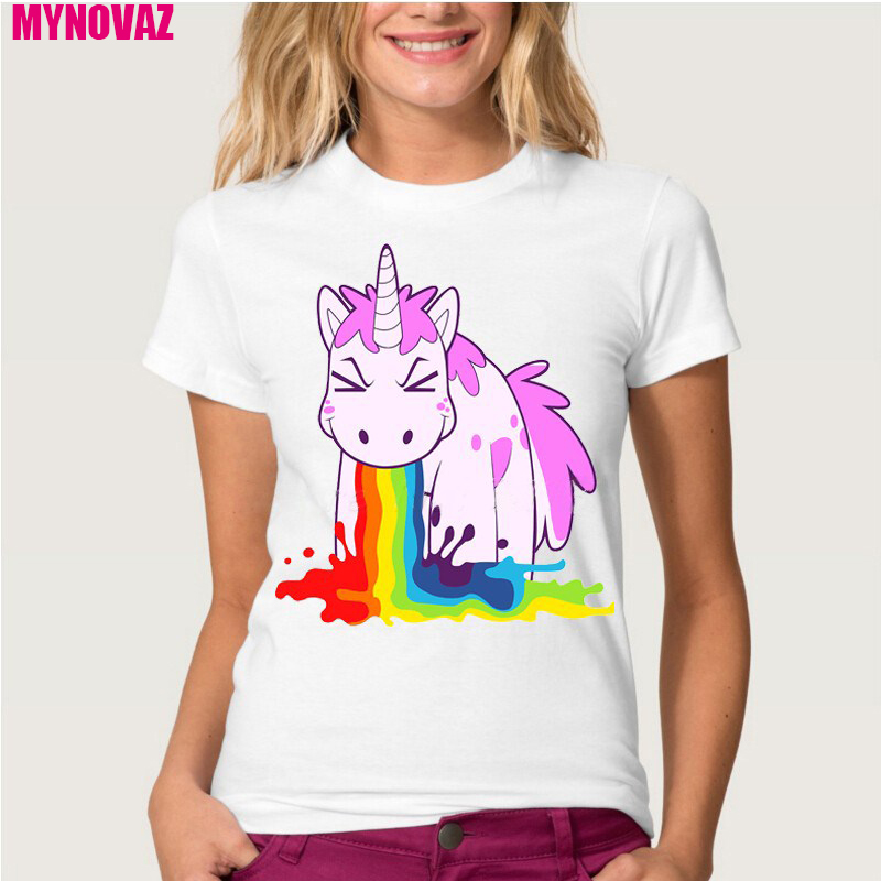 Top Unicorn Rainbows T-Shirt Women Summer Printing Animal Novelty Short Sleeve Shirt Dabbing Unicorn Tops Plus Size Tee Clothes