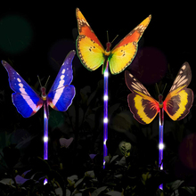 4Pcs Multicolor LED Solar Light Outdoor Fiber Optic Butterfly Lawn Lamps Waterproof Garden Landscape Pathway Decorations Lights