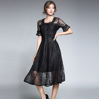 Early Autumn New Pink Yellow White Black Lace Dresses High-end Lace Sexy Short Flare Sleeve Rushed A Line Fashion Runway Dress