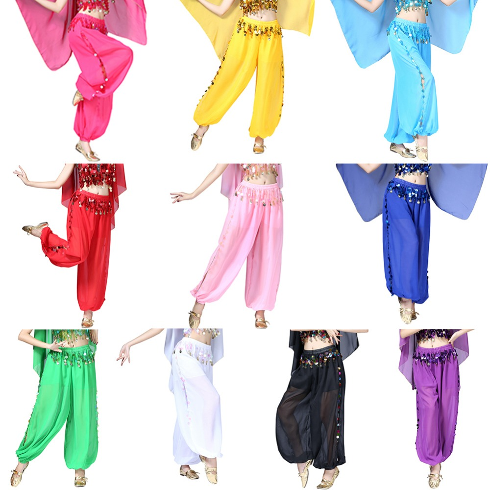 ZACOO Dance Performance Costumes Loose Sequins Pants Women Girls National Dance Pants Solid Polyester Dancing Clothing Dropship