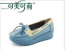 women genuine leather flats woman's flat platform Bowknot causal nurse shoes women's round toe flexible candy color loafer 2077
