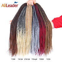 Alileader Long Box Braids Crochet Braids 22 Roots/pack Synthetic Kanekalon Braids Crochet Silver Grey Hair Extension 8pack/lot