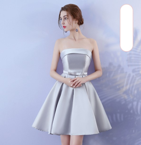 Grey Colour Sleeveless  Above Knee Mini Dress Bridesmaid Wedding Guest Sexy Back of Bandage