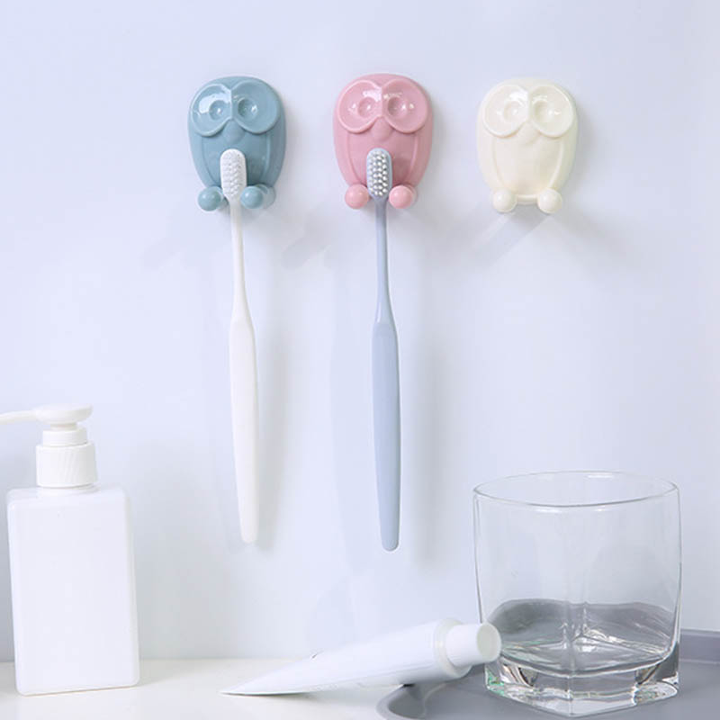Self Adhesive Multifunction Socket Plug Storage Hanger Wall Mounted Toothbrush Holder Bathroom Accessory Owl Shape Cute Cartoon image