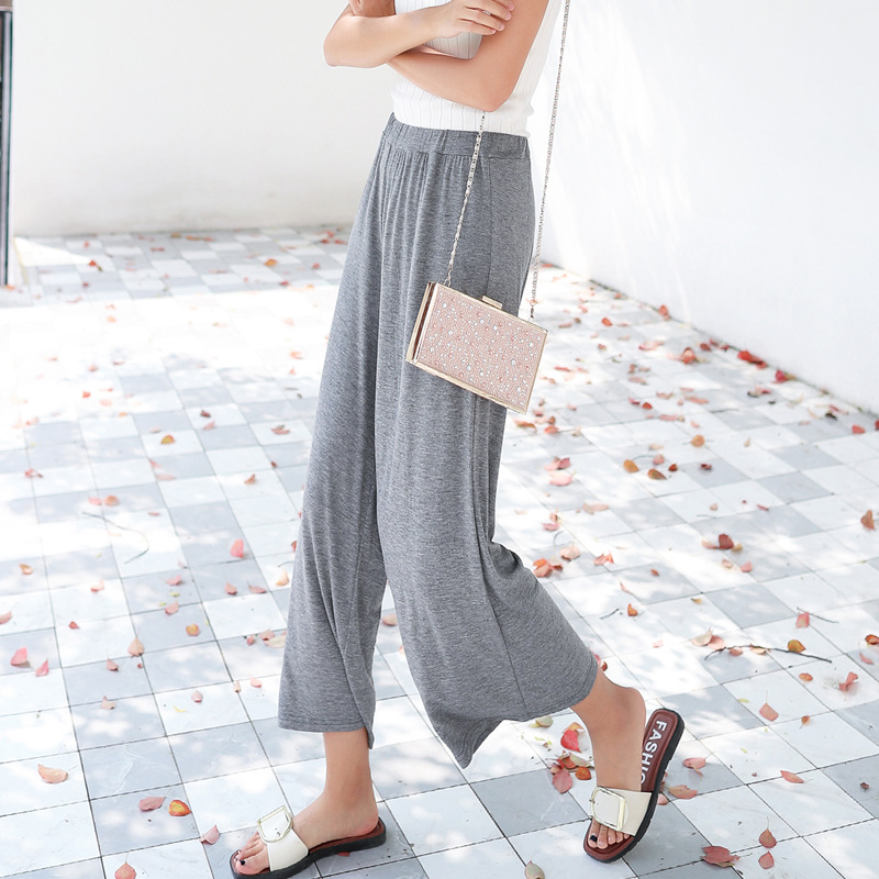 Summer Loose Solid High Elastic Waist Pure Cotton Wide Leg Pants Casual Style Calf-Length Pants Elegant Trousers For Women D163