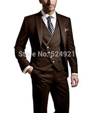 Brand New Groomsmen Brown Groom Tuxedos Peak Lapel Men Suits Wedding/Prom Best Man Blazer ( Jacket+Pants+Vest +Tie) C302(China)