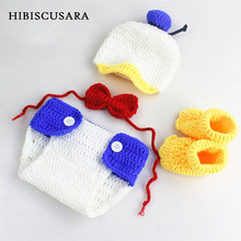 Handmade Knitting Baby Photography Clothing Costumes Cartoon Duck Newborn Bebe Photo Sets Hat Panties Bowtie Shoes 4pcs Outfits(China)