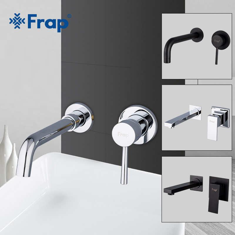 FRAP Wall Mounted Basin Faucet Brass Single Handle Mixer Tap Hot & Cold Bathroom Water Bath Matt Black Faucet Sink Y10050/-1