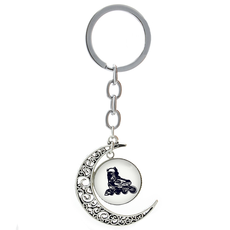 Cool Rollerblades key chain ring vintage roller skate picture casual sports Gone Fishing Ice Hockey Rowing moon keychain T784