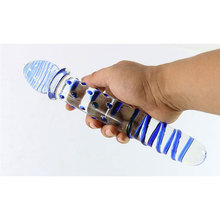 Long Blue Large Particles Glass Anal Dildo Dildos For Woman Huge Giant Crystal Fake Dick Penis Sex Toys Lesbian Erotic toys