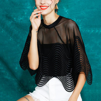 Fashion Half Sleeve Club Sexy Hollow Out Blouse Women Tops Summer O Neck Patchwork Shirt Blouse Vogue Ladies Party Clothes SL055