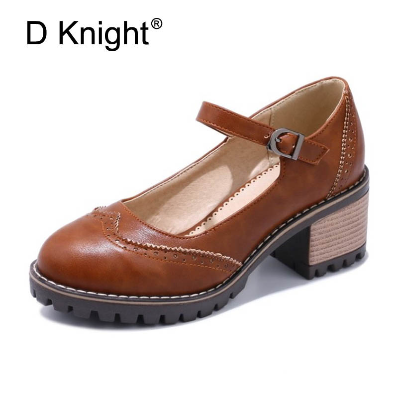 Women Thick Heel Pumps Women Causal Shoes Retro Mary Janes for the Sexy Ladias Working Days Fashion Shoes Women Girls High Heels