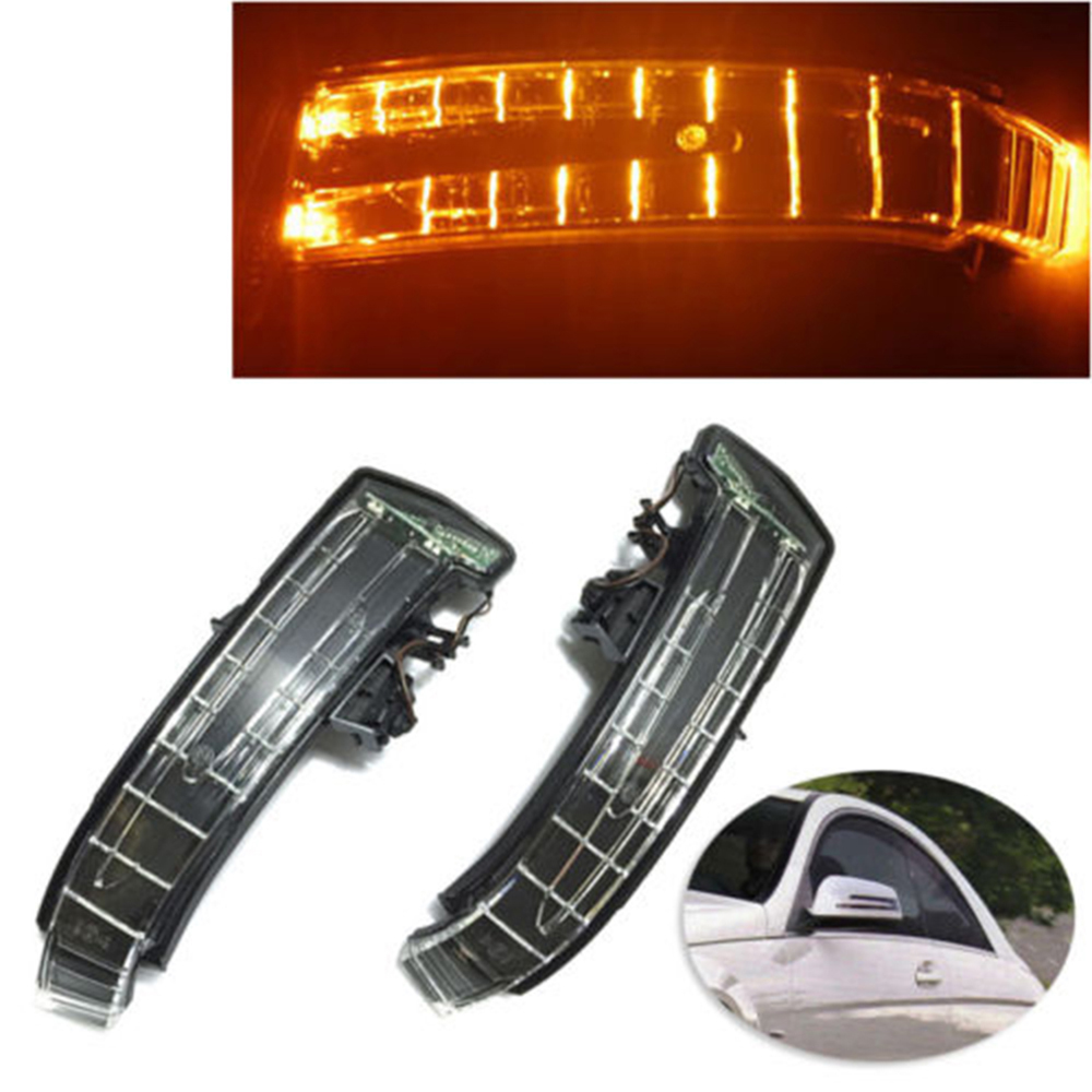 1 Pair Car LED Side Mirror Lights Marker Turn Signal Light lens For Mercedes W204 W212 W221 1pcs yellow side mirror turn signal light lens for mercedes w204 w212 w221 left side