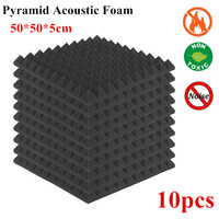 10pcs Acoustic Foam Panels Studio Soundproof Pads 50 X 50 X 5cm Sound Treatment Studio Room Absorption Wedge Tiles Foam