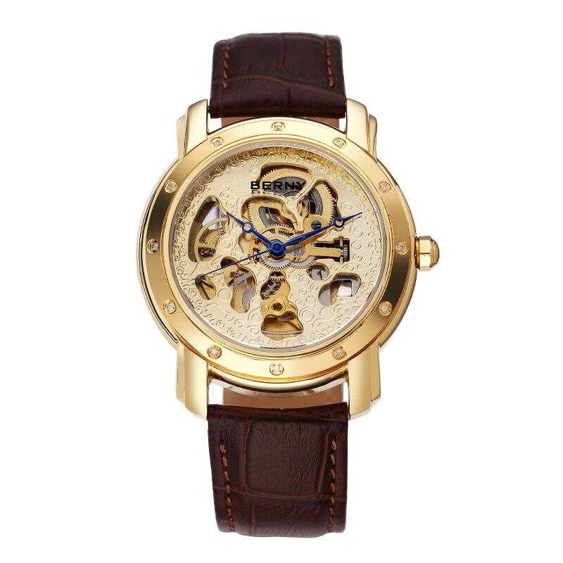 Berny Real Diamond Men Watch Automatic Mechanical Men Watches Fashion Luxury Relogio Saat Montre Masculino Erkek JAPAN MOVEMENT