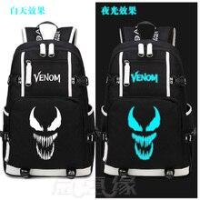 New Film Venom Backpack Spider Man Cosplay Nylon School Bag  Luminous Travel Bags