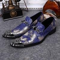 Plus Size Elegant Genuine Leather Red Bottom Man Loafers Pointed Toe Slip on Footwear Rhinestone Men's Metal Tipped Shoes SL347