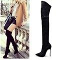 2016 de Inverno Mulheres Outono Botas Esticar Botas de Camurça Do Falso Magro Coxa Alta botas de Moda Sexy Sobre o Joelho Botas de Salto Alto Sapatos de Mulher