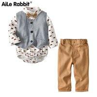 AiLe Rabbit 2019 Boy Gentleman Set Infant Baby Vest Haber Pants 3 Piece Set Fashion children's wear set for boys