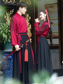 WITHZZ Chinese Style Hanfu Embroidered Three-piece Suit Martial Arts Style Couples Group Clothing Suit Two-piece Suit + Red Coat